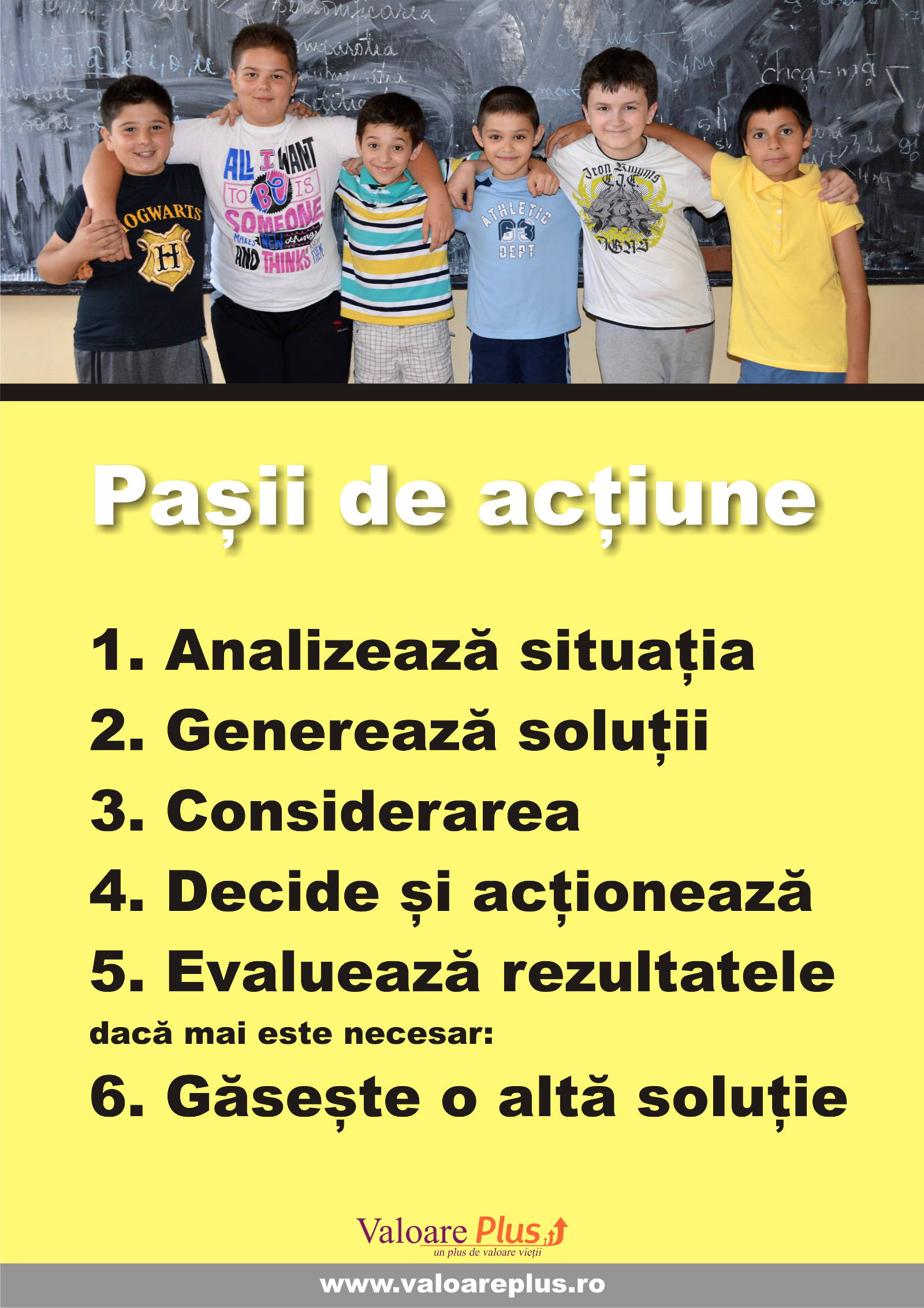 posterul cu pasii de actiune