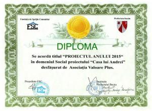 Diploma proiectul anului 2015