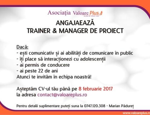 Valoare Plus angajează un trainer & manager de proiect